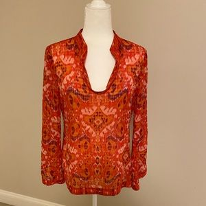 Tory Burch silk print sequined blouse